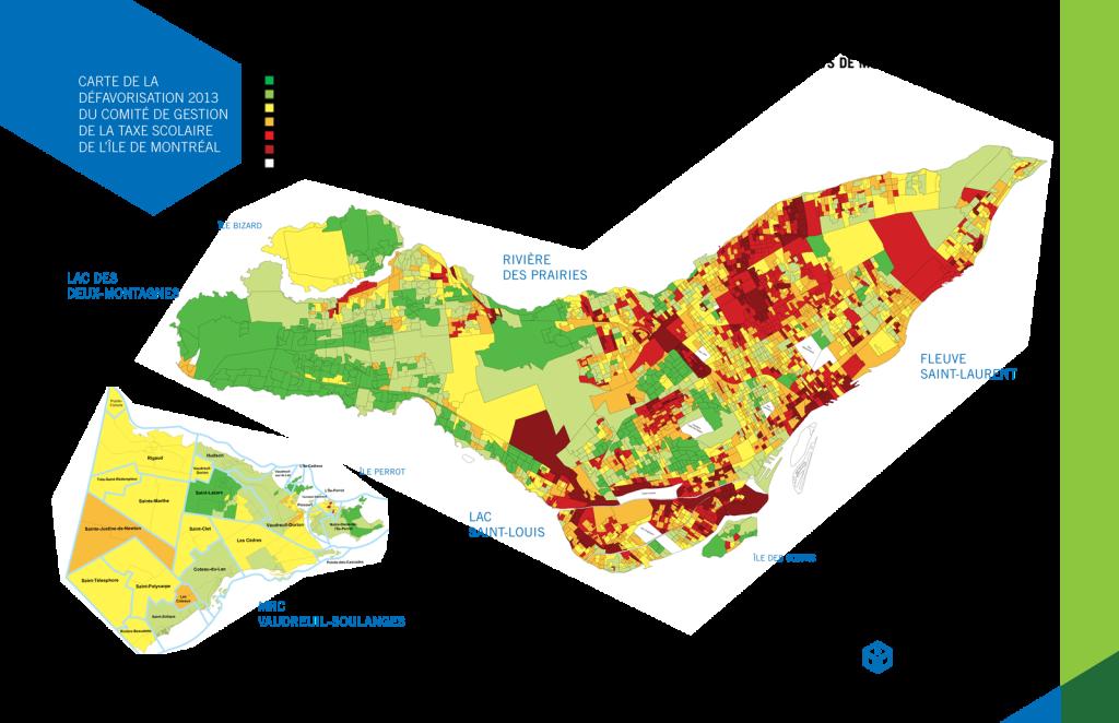 Carte de la défavorisation des familles avec enfants de moins de 18 ans de l'île de Montréal